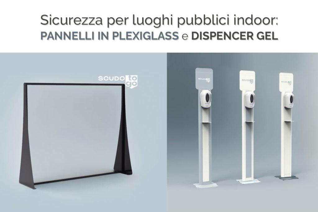 pannelli in plexiglass e dispensatori gel